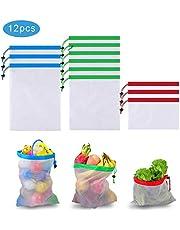 Bolsas de malla reutilizables - Vagalbox , Lavables de primera calidad para compras en el supermercado, almacenamiento de frutas y verduras Bolsas de red ecológicas, 6 Mediano 3 Grande 3 Pequeño (12Pcs)