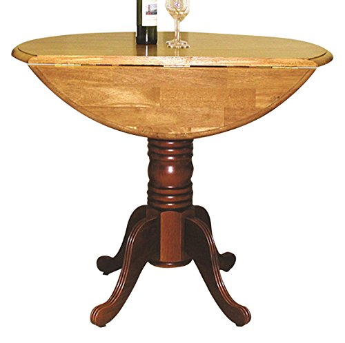 Sunset Trading Round Drop Leaf Pub Table with Light Oak Finish Top, Nutmeg (Chairs Table Pub Expandable With)