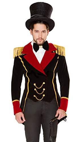 Ringmaster Tailcoat (Sexy Ringmaster Embellished Jacket with Bow Tie and Whip - Black/Gold/Red - XL)