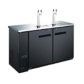 60″ 2 Door 4 Tap Commercial Beer Dispenser Refrigerator – Keg Cooler – Kegerator