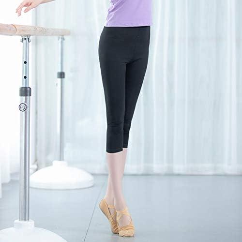 Vshiaifen 大人のダンスパンツ女性の黒の9点のズボンのズボンのバレエボディタイトなストレッチダンス7点の練習のズボン (Color : L, Size : L)