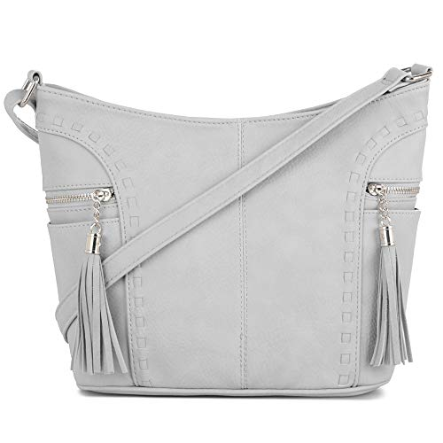 DELUXITY | Crossbody Hobo Slouch Bucket Purse Bag | Side Pockets with Tassel | Adjustable Strap | Light Gray ()