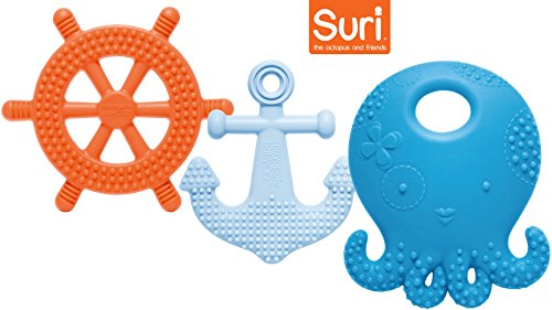 Multi Sensory Silicone Teether - Mayapple Baby | Suri the Octopus & Friends Baby Teethers | 3-Stage Teething Toys, Silicone | Blueberry Color Set - 3 Teethers | Award-winning, Patented