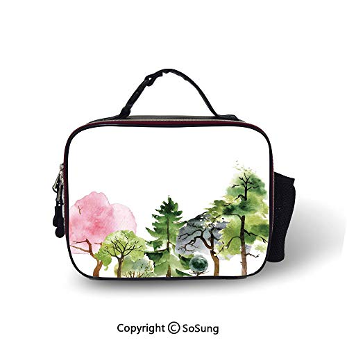 (Forest Leakproof Reusable Insulated Cooler Lunch Bag Colorful Forest with Oak and Willow Growth Purity Nobility in Mother Earth Theme Art Picnic Hiking Beach Lunch bag,10.6x8.3x3.5 inch,Multicolor)