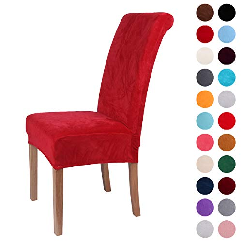 4 Set Red Chairs (Colorxy Velvet Spandex Fabric Stretch Dining Room Chair Slipcovers Home Decor Set of 4, Red)