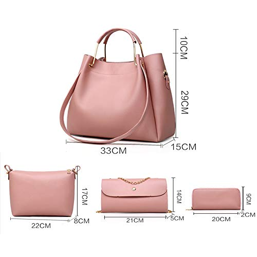Messenger Pelle Donna Borsa Borse Borsa Red Pu 4 Set Brown Per Borsa LUCKYCCDD La Pezzi In gq8YX8