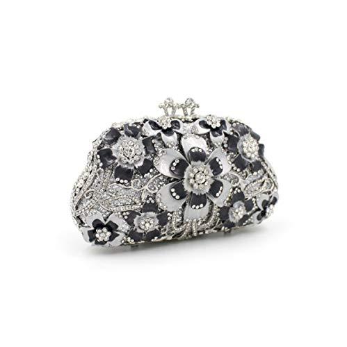 de sac sac fleur en Bag Mageleo dames de Sac B clouté strass creuse main cristal métal croisé soirée sac afPPq4xZn