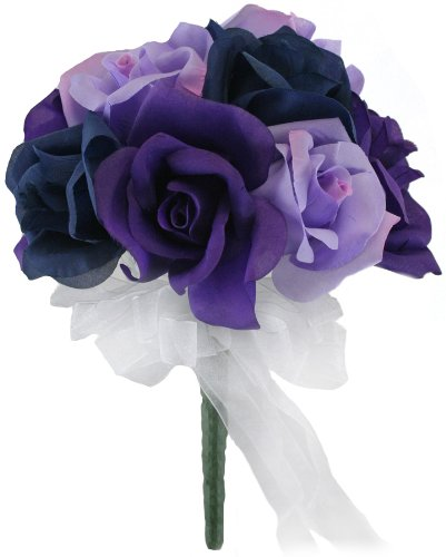 Navy Blue, Lavender and Purple Silk Rose Toss Bouquet – Bridal Wedding Bouquet