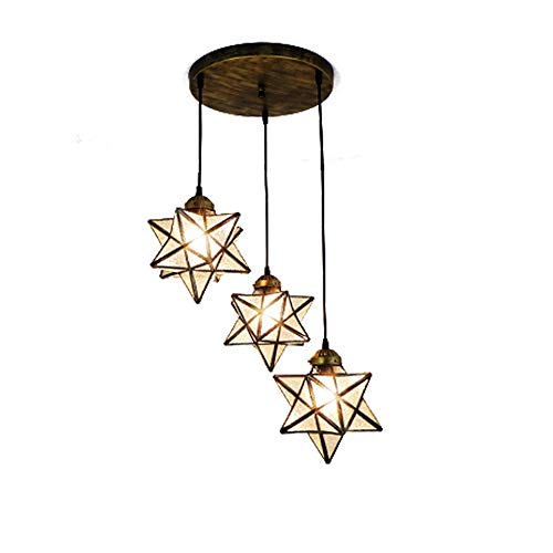 (KIRIN Moravian Star Pendant Hanging Lamp Crystal Glass Ceiling Lighting Chandelier LED Iron Art 3 Lights Round Base Light Fixtures Bedroom Dining Room Living Room Office Restaurant Bar)