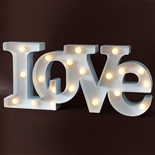 "BRIGHT ZEAL Decorative LED ""Love"" Marquee Letters - LOVE Marquee Sign LED Lights - LED Light up LOVE Letters and Illuminated Wedding Signs - Gift For Home Decor (White, Gift Set) 30513"