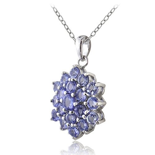 Ice Gems Sterling Silver Tanzanite Flower Cluster Necklace