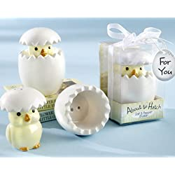 """About to Hatch"" Ceramic Baby Chick Salt & Pepper Shakers - Baby Shower Gifts & Wedding Favors (Set of 48)"