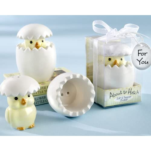 """""""About to Hatch"""" Ceramic Baby Chick Salt & Pepper Shakers - Baby Shower Gifts & Wedding Favors (Set of 24)"""