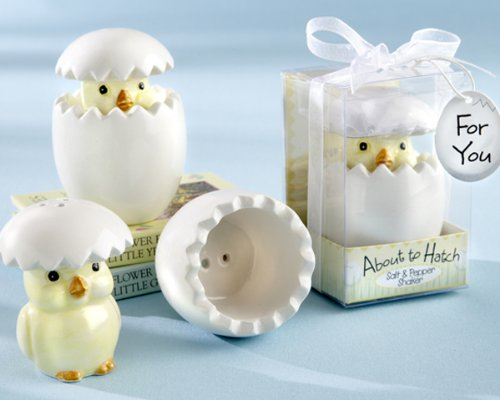 ''About to Hatch'' Ceramic Baby Chick Salt & Pepper Shakers - Baby Shower Gifts & Wedding Favors (Set of 48) by CutieBeauty