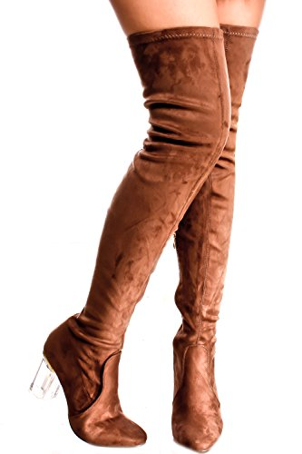 Lolli Couture Elegantie Faux Lederen Zijrits Over De Knie Platformlaarzen Taupe-cameron-2