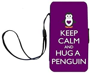Rikki KnightTM Keep Calm and Hug a Penguin Purple Color Galaxy S3 i9300 PU Leather Wallet Type Flip Case with Magnetic Flap and Wristlet for Samsung Galaxy S3
