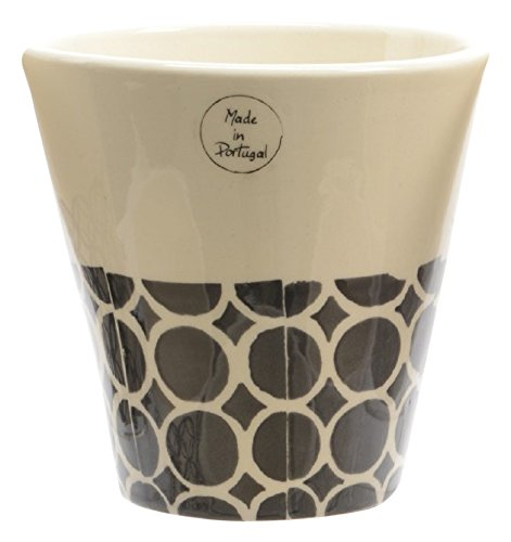 Northlight Seasonal Basic Luxury Handmade White and Black Circles on Bottom Flower Pot Planter, 6