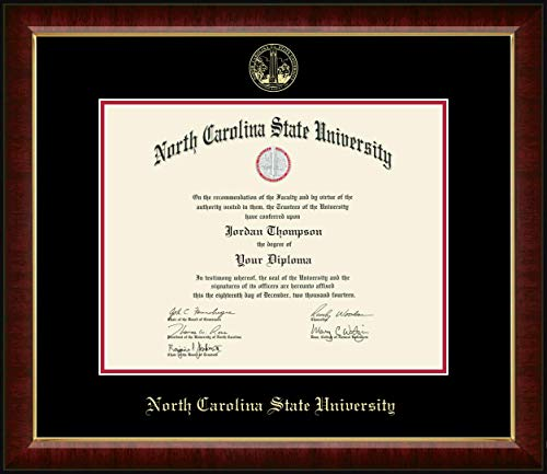 Church Hill Classics NC State - Gold Embossed Diploma Frame - in Solid Hardwood Murano Moulding - Officially Licensed - 14