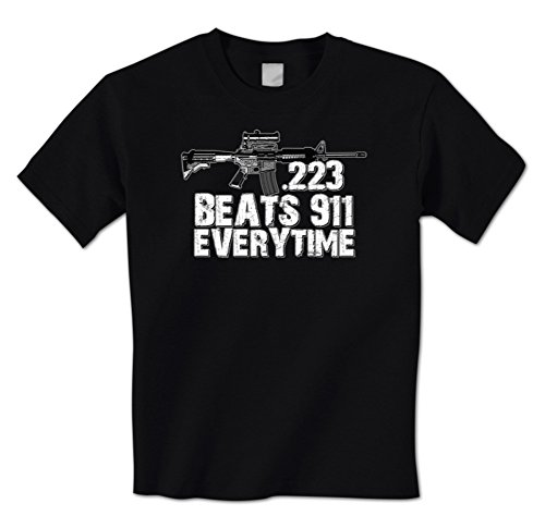 .223 Beats 911 Everytime - Assault Rifle Gun Rights Mens T-Shirt Large Black