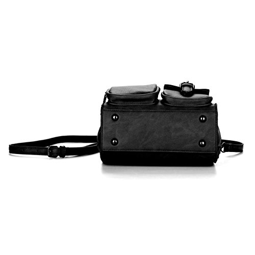 Women Pocket Shoulder Retro Pocket Crossbody Bag Black Multi Soft books Leather Crossbody Handbags Bag prTfxwp4q