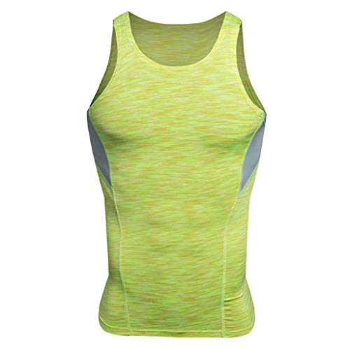 - Kulywon Mens Shirts Men's New Summer Sports Vest Fitness Sport Fast-Dry Breathable Male Vest Yellow