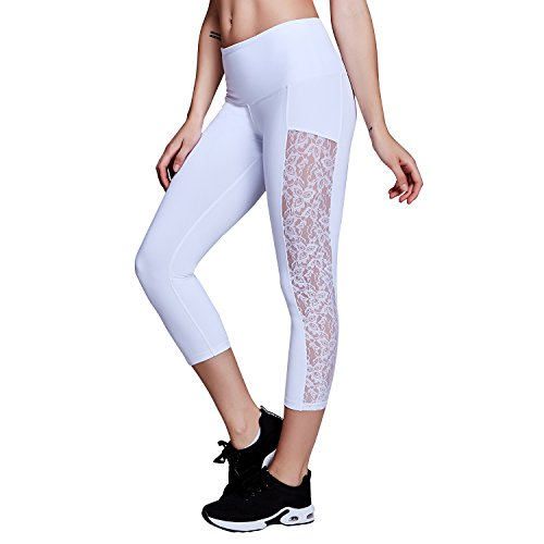 Matymats Women's Tummy Control Yoga Capri Pants Workout Running Active Leggings Not See Through Lace Panel Side