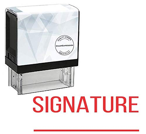 (StampExpression - Signature with line Office Self Inking Rubber Stamp - Red Ink (A-5628))