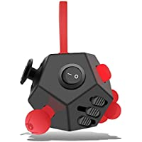 "Minilopa Fidget Dodecagon €""12 Side Fidget Toy Cube Relieves Stress and Anxiety Anti Depression Cube for Children and Adults with ADHD ADD OCD Autism (A4 Black red)"