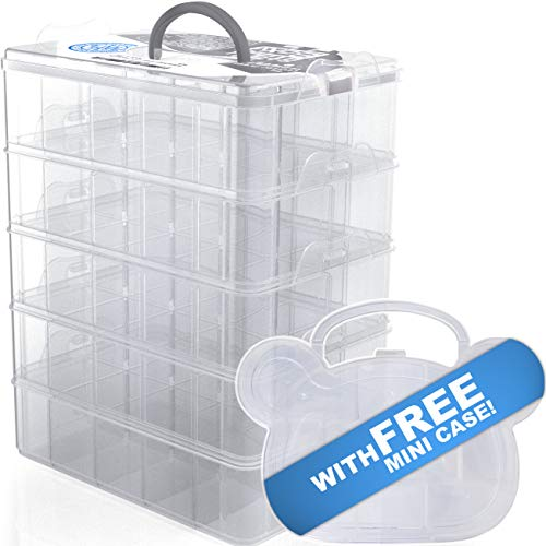 STACK BOXX Stackable Storage Bins (White) +Free Mini Case | Be Clutter-Free, Be Happy! 5 Layer Container w/Handle -Perfect Solution for Kids Toy Storage, Art Supply, Jewelry, Closet & Desk Organizer ()