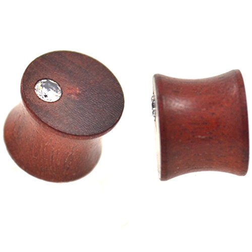 Pair of Double Flared Mahogany Wood Off Center CZ Plugs Organic Ear Gauges (5/8 Inch - 16mm)
