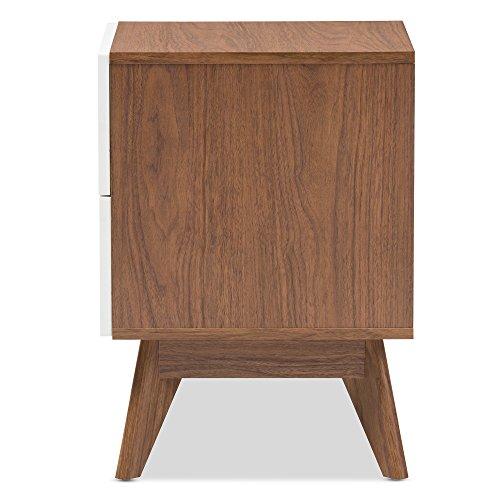 Baxton Studio 424-7504-Amz Helene Mid-Century Modern Wood 3-Drawer Storage Nightstand, White/Walnut Brown