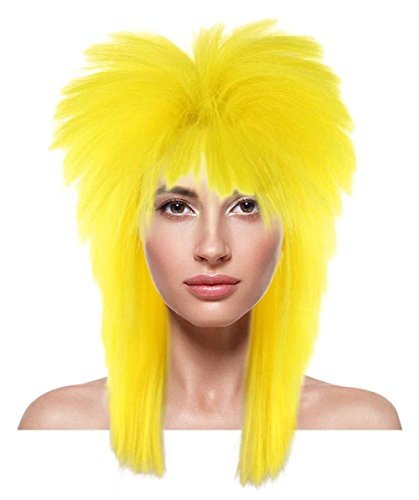 Halloween Party Online 80's Rocker Style Wig, Yellow Adult HW-942A (Unisex 80's Wig)