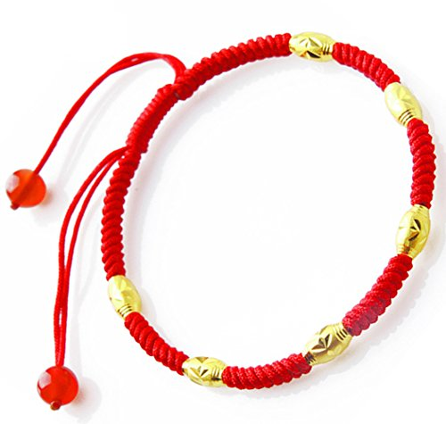 Atyou Handmade Red String Bracelet, Good for Wealth and Love, 18k Gold Plated with Red Agate