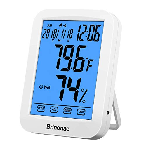 Brinonac Digital Hygrometer Home Office Electronic Thermometer Big LCD Touch Screen Time Clocker with Backlit Calander Clock Alarm