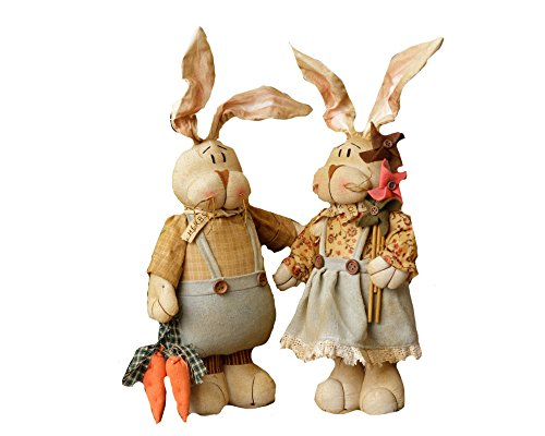 Your Heart's Delight Kountry Kousins Bunny Couple, 16-1/2-Inch (Bunny Primitive)