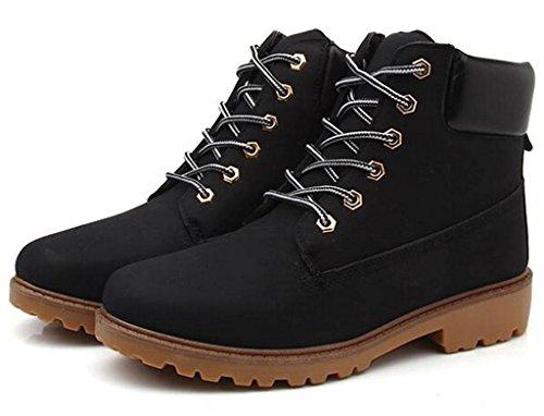 Lace Boots DADAWEN Low Work Waterproof Black Ankle Women's Up Combat Bootie Heel q5wCOB5