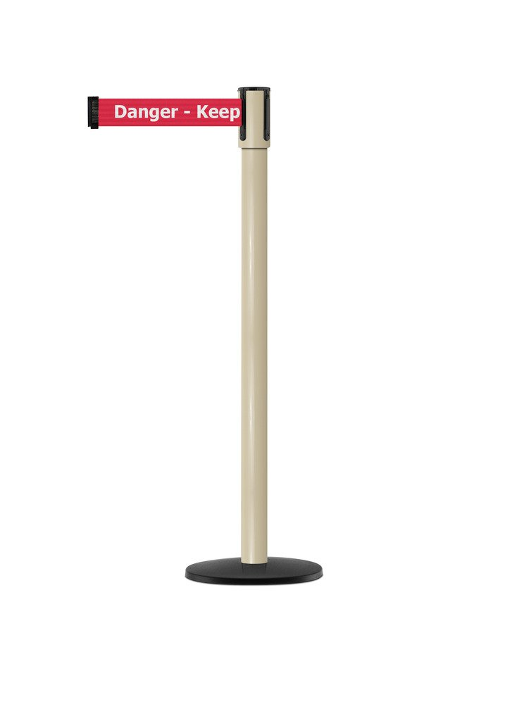 Tensabarrier - 890B-33-100-100-STD-NO-RHX-C - beige post, 2'' wide, 7'6'' length red Danger Keep Out belt