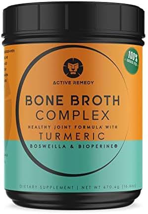 Grass-fed Bone Broth Protein Powder – Unique Joint Support Formula with Turmeric Curcumin, BioPerine & Boswellia –Collagen Peptides – Paleo & Keto