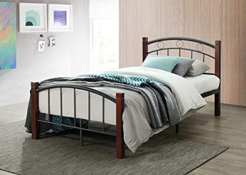 Hodedah HI599 Complete Metal Twin Bed, Mahogany (Boys Twin Bed Frame)