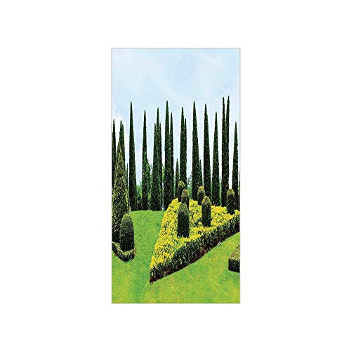 Ylljy00 Decorative Privacy Window Film/Classic Formal Designed Garden with Evergreen Shrubs Boxwood Topiaries/No-Glue Self Static Cling for Home Bedroom Bathroom Kitchen Office Decor