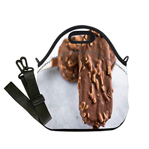 Lunch Box Insulation Lunch Bag Large Cooling Tote Bag Neoprene Insulated Lunch Tote Bag Almond chocolate dip ice cream on marble custom Stylish Lunch Bag, Multi-use for Men, Women and Kids