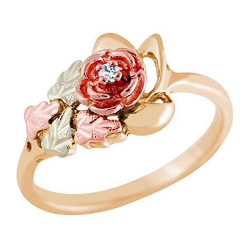 (Black Hills Gold Rose Ring with Diamond ...)