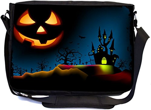 Rikki Knight Halloween Haunted House on Blue with Evil Jack - SuperStrong Messenger Bag - School Bag - with padded pockets for Laptops & Tablets up to 14.5