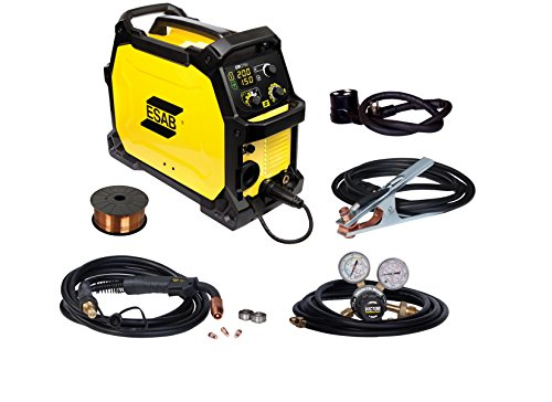ESAB Rebel EM 215ic MIG Welder Package 0558102346, 120/230 Volt 235 Amp Single Phase 40 lb, Lightweight Machine Welds Solid and Flux Cored Wire on Mild Steel, Aluminum and Stainless Steel
