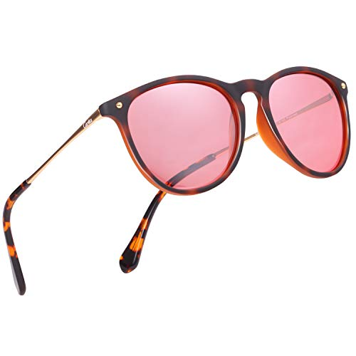 Polarized Sunglasses Tortoise Frame - Carfia Vintage Polarized Sunglasses for Women Men Classic Designer Style 100% UV400 Protection (Women/Red-Silver Mirror Tortoise Frame, For Women)