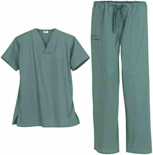 8b75cb065d2 Unisex Medical Uniform Scrub Set – Includes V-Neck Top with 1 Pocket and  Drawstring