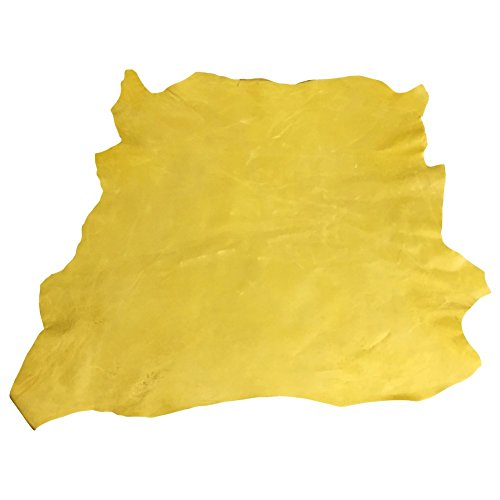 Genuine Craft Leather Hides - Top Quality Lambskin - Spanish Full Skins - Yellow Color - 6 sq ft - 2 oz avg Thickness – Waxy Rustic Finish – Real Sheepskin Material – Soft Upholstery Fabric