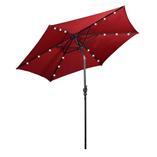 Giantex 9ft Patio Solar Umbrella LED Patio Market Steel Tilt w/Crank Outdoor (Burgundy) Review