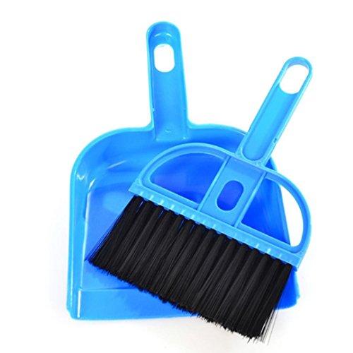 Yjydada Mini Desktop Sweep Cleaning Brush Small Broom Dustpan Set  Blue
