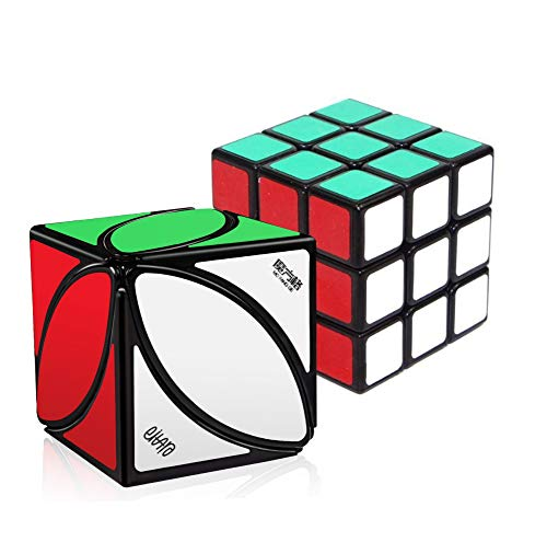 WELCOMY Qiyi Warrior W 3x3 Speed Cube Stickerless Magic Cube Puzzles, and MoFangGe Ivy Cube Leaf Magic Cube FengYe Square Shape Twisty Puzzle Toy Black